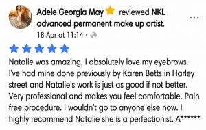 Adele Georgia Testimonial for Natalie Janman Permanent Makeup Hampshire