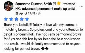 Samantha Duncan-Smith Testimonial for Natalie Janman Permanent Makeup Hampshire