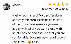 Zoe H. Testimonial for Natalie Janman Permanent Makeup Hampshire
