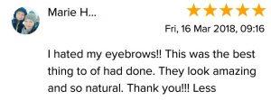 Marie H Testimonial for Natalie Janman Permanent Makeup Hampshire