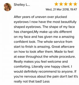 Shelly L. Testimonial for Natalie Janman Permanent Makeup Hampshire