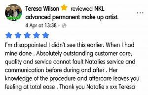 Terea Wilson Testimonial for Natalie Janman Permanent Makeup Hampshire