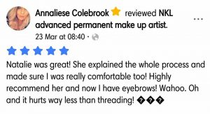 Annaliese Colebrook Testimonial for Natalie Janman Permanent Makeup Hampshire