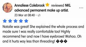 Annaliese Colebrook Testimonial for Natalie Janman Permanent Makeup Hampshire