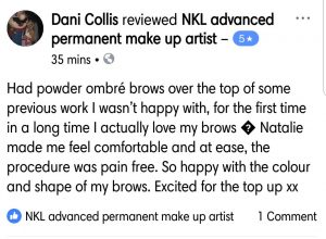 Dani Facebook Review of her Ombre Permanent Eyebrows